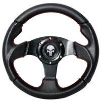 280mm 6-bolt Steering Wheel Black Pvc Leather Red Stitching Punisher Emblem