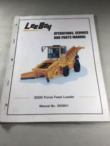 leeboy 3000 force feed loader operations service and parts manual rh ebay com