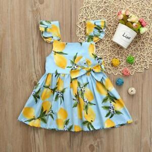Infant-Kids-Baby-Girls-Lace-Sundress-Lemon-Print-Clothes-Princess-Casual-Dress