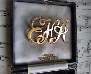 Antigua-victoriana-Antique-Victorian-eha-EAH-Hea-Monograma-Inicial-Broche-Pin-Unisex-Hermoso-Regalo