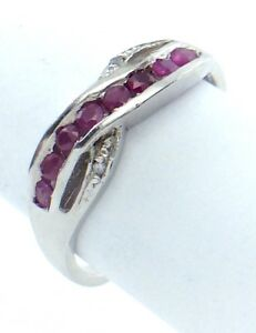Vintage-Women-Lady-Eternity-Size-7-US-8-Ruby-Stone-Sterling-Silver-925-Ring-G849