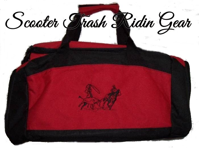 TEAM ROPING ROPER RED Small Medium Duffle Bag rodeo horse NEW steer PERSONALIZED