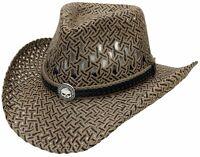 Harley Davidson Western Skull Cowboy Hat Outback Black Straw Rancher Men Cap