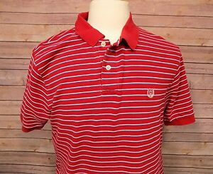 Chaps-Men-039-s-Short-Sleeve-Polo-Shirt-Red-Striped-Size-Large-Cotton