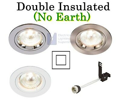 Double Insulated Gu10 Mains Fixed Cast Ceiling Recessed Downlight No Earth Ebay