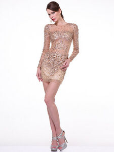 New Sexy Black Gold Long Sleeve Embellished Cocktail Prom Dress Sz