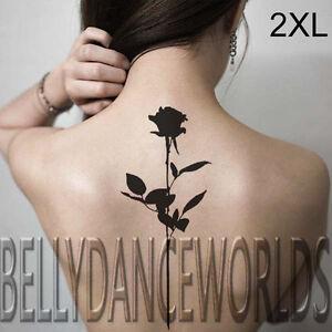 Beautiful Black Single Long Stem Rose Blackwork Temporary Tattoo