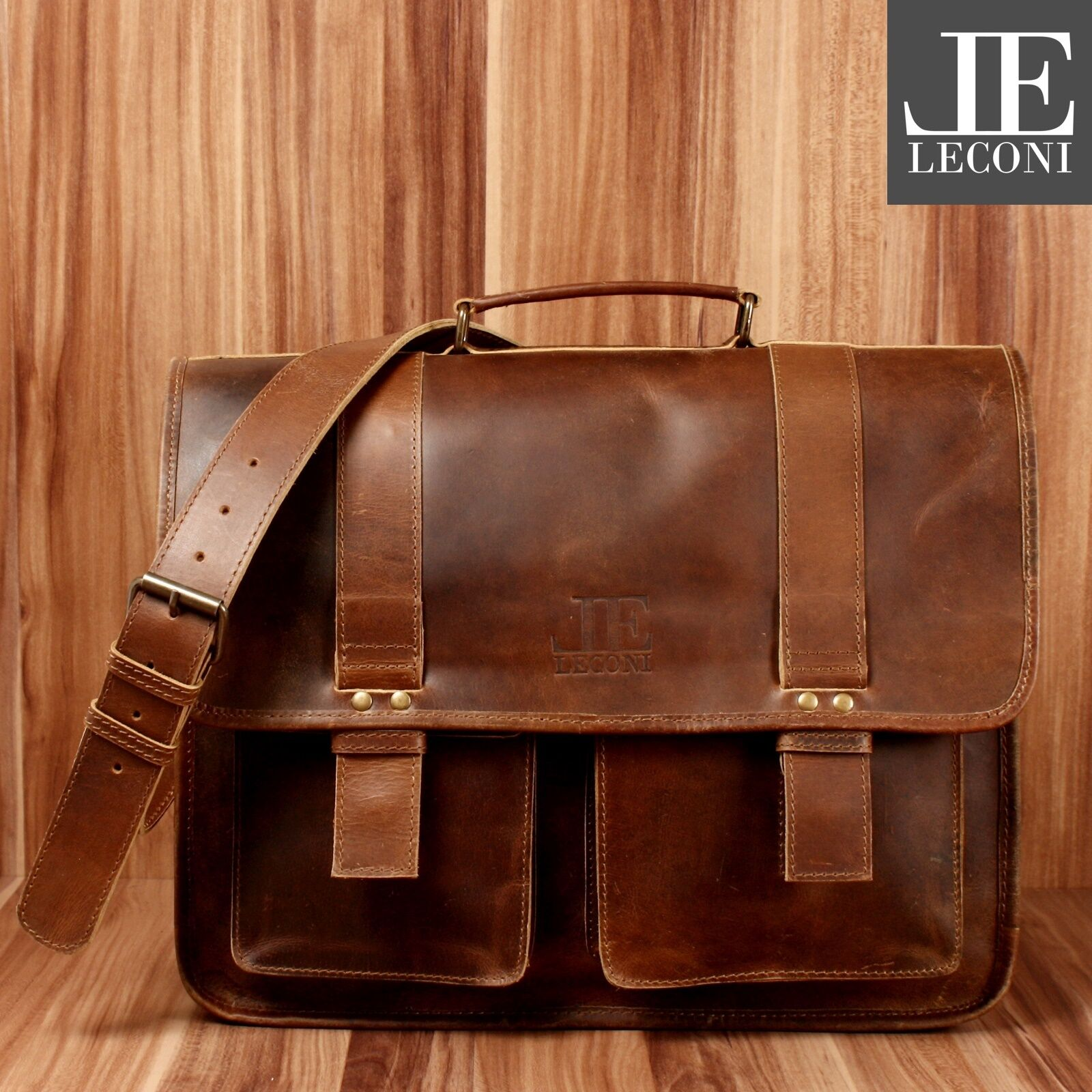 LECONI Aktentasche XL Collegetasche Messenger Bag Büffelleder mittelbraun LE3030 | Marke  | Hochwertige Produkte  | Verrückter Preis