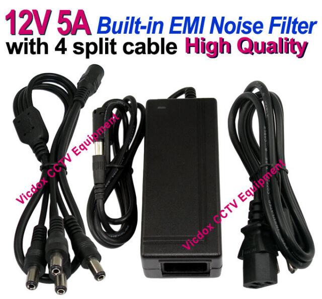 110/240V AC to 12V 5A 60W DC Power Supply Adapter +4 Ports Cable CCTV Camera DVR