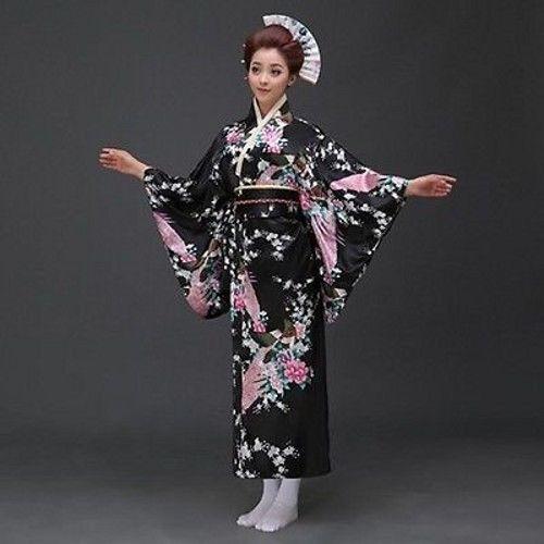 Retro Japanese Traditional Yukata Cosplay Peacock Kimono Robe Geisha Dress Obi