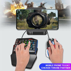 wired Keyboard+Mouse Ergonomic Multicolor Backlight One-Handed Game Black Portab