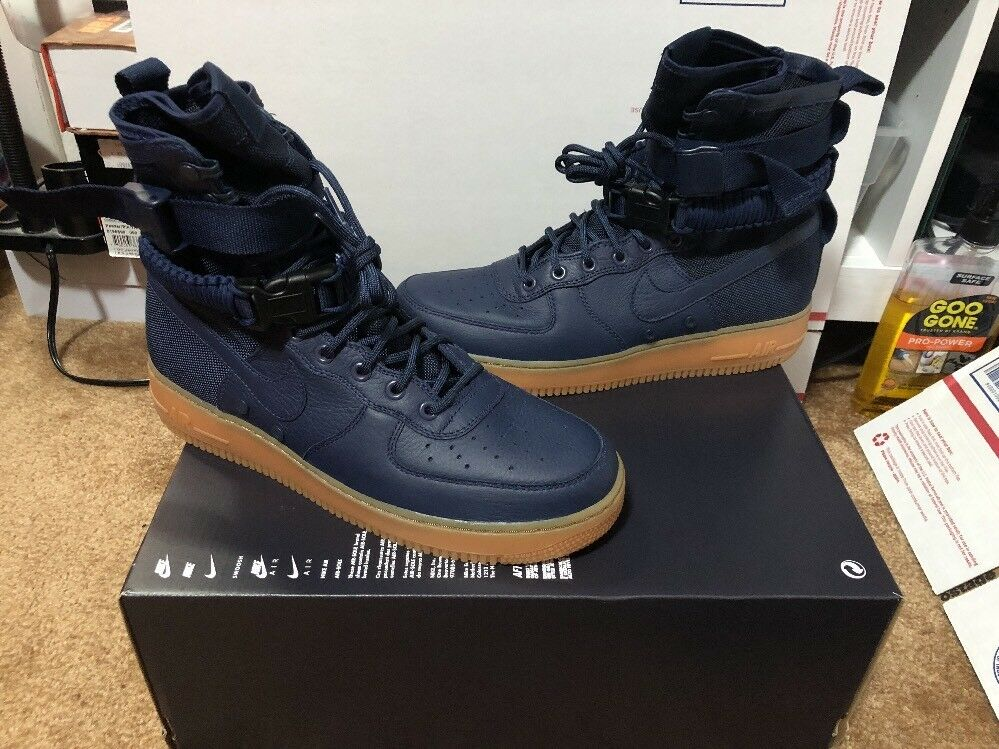 New Nike SF AF1 Midnight Navy Gum Size 10.5 (864024-400) Special Field Air Force