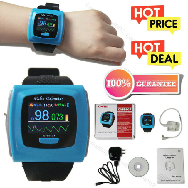 CMS50F Wrist Pulse Oximeter Alarm SPO2 monitor Daily Night Sleep Study  Software