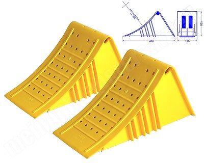 2x Kunststoff Plastik Unterlegkeil Hemmschuh 5t Radlast UK46 G46 n. DIN 76051-46