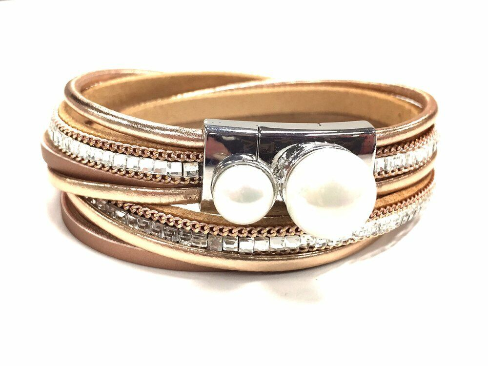 New Jacqueline Kent Women's Metallic pink gold Pearl Crystal Thin Wrap Bracelet