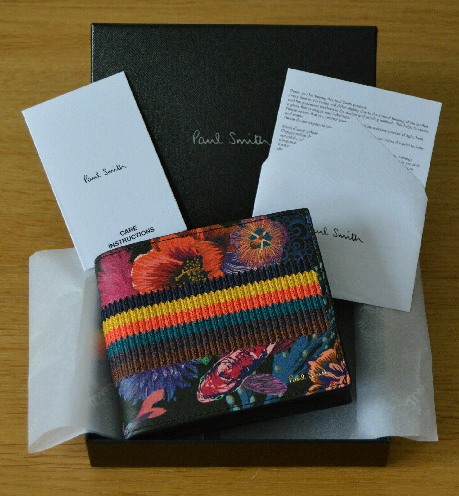 PAUL SMITH Artist Bright Stripe Ocean Print Hawaiian Japanese Koi leather wallet