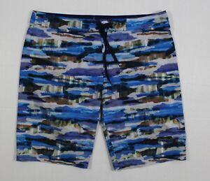 a1141aed7d prAna 40 Men's Sediment Board Shorts Vortex Blue Indian Summer 4-Way ...