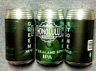 NEW EMPTY HONOLULU BEERWORKS GREEN STONE IPA Craft Beer 12 oz Can Hawaii