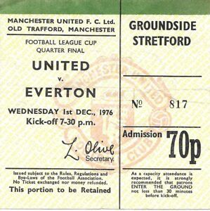MANCHESTER UNITED V EVERTON 19761977 LEAGUE CUP TICKET - Spalding, United Kingdom - MANCHESTER UNITED V EVERTON 19761977 LEAGUE CUP TICKET - Spalding, United Kingdom
