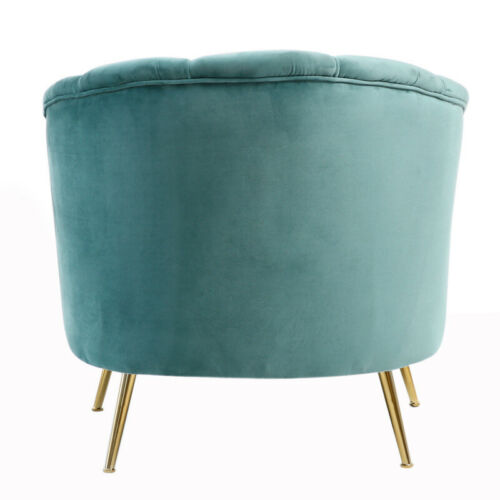 Upholstered Lotus Shell Back Scallop Tub Chair Wing Back Armchair Gold Metal Leg