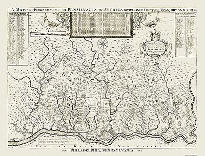 Old City Map - Philadelphia Pennsylvania - Holme 1687 - 30.13 x 23