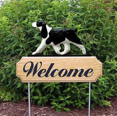 English Springer Spaniel Dog Breed Oak Wood Welcome Outdoor Yard Sign Black