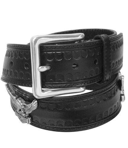 Harley-Davidson Mens Embossed Black Leather Belt w// Upwing Eagle Conchos