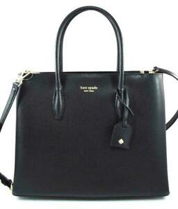 AUTHENTIC-NEW-NWT-KATE-SPADE-399-LEATHER-EVA-BLACK-MEDIUM-SATCHEL-CROSSBODY