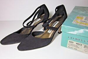 GLORIA-VANDERBILT-Women-039-s-Shoes-Black-Suede-Heels-Sz-7-Strap-Pumps