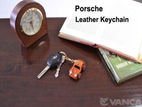 Keychain//Keyring *VANCA* Made in Japan #56185 Porsche Handmade 3D Leather L