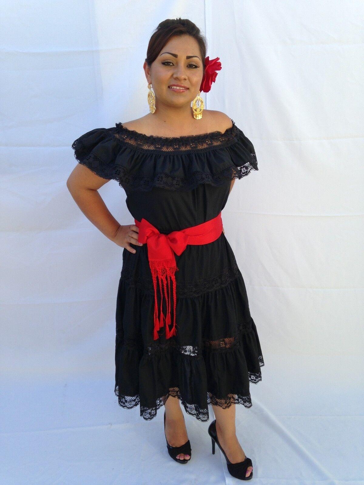 MEXICAN DRESS FIESTA, 5 DE MAYO OFF SHOULDER W RUFFLE 2 PIECE w  MEDIUM rot SASH