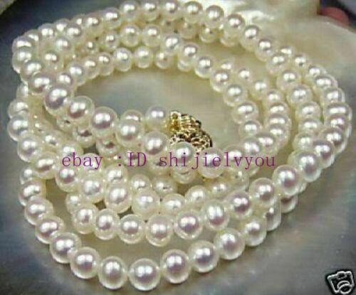 """7-8 mm blanc Akoya Cultured Pearl Necklace 25/"""" Belle"""
