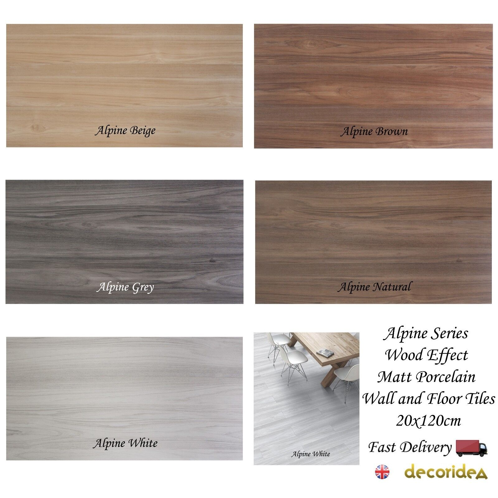 Alpine Series Wood Effect Matt Porcelain Wall & Floor Tiles 20x120cm  sqm
