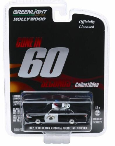 GONE IN 60 SECONDS* Greenlight 1:64 1992 Ford Crown  California Highway POLICE