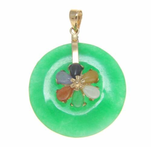Round Circle multi couleur vert jade Pendentif 14K Solide Or Jaune