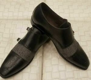 Men-039-s-Handmade-Genuine-Black-Leather-And-Wool-Dress-Fabric-Double-Monk-Shoes