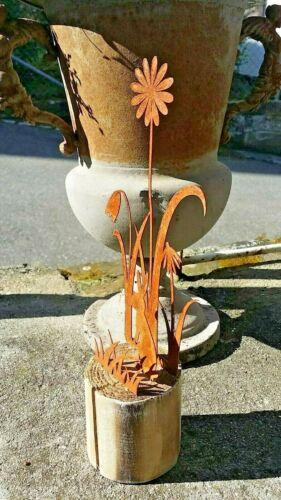 Rost Deko Holzblock mit Blumenwiese 28cm Hase Blume
