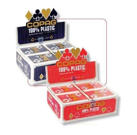 Cartouche de 12 jeux 54 cartes BRIDGE COPAG 100% Plastique Regular Rouge 400520