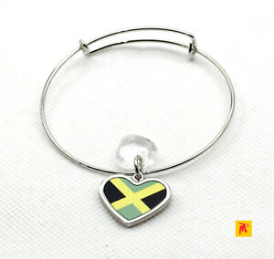 Adjustable-Slide-Heart-Jamaica-Flag-Bracelet-with-Heart-Charm