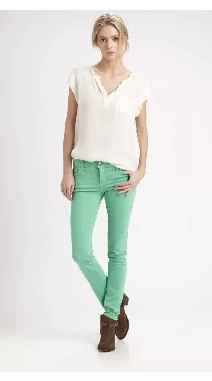 Current Elliott 24 The Ankle Skinny Jeans In Winter Green
