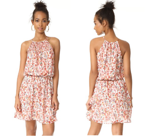 NEW    Joie Reinelde Sleeveless Floral-Print Silk Dress Pocelain S