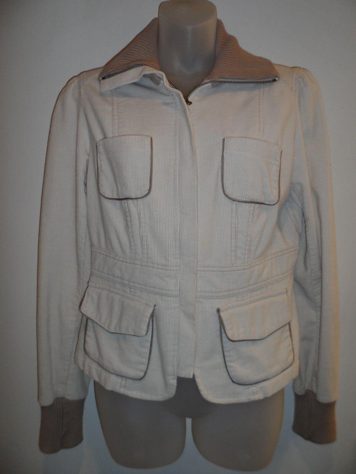 bebe 10 Corduroy Jacket Beige Ivory Nude Biker Military Chic Zip Up Winter