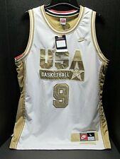 1992 USA Men/'s Basketball #15 Earvin Johnson Basketball Maillots Bleu Marin