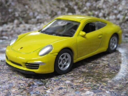 Welly ® Porsche 991 amarillo aprox 1:60 nuevo como imagen sin OVP aprox 7,5 cm de largo