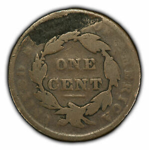 1837 1c Coronet Head Large Cent - Mint Error: Major Rev Lamination - SKU-Y1887