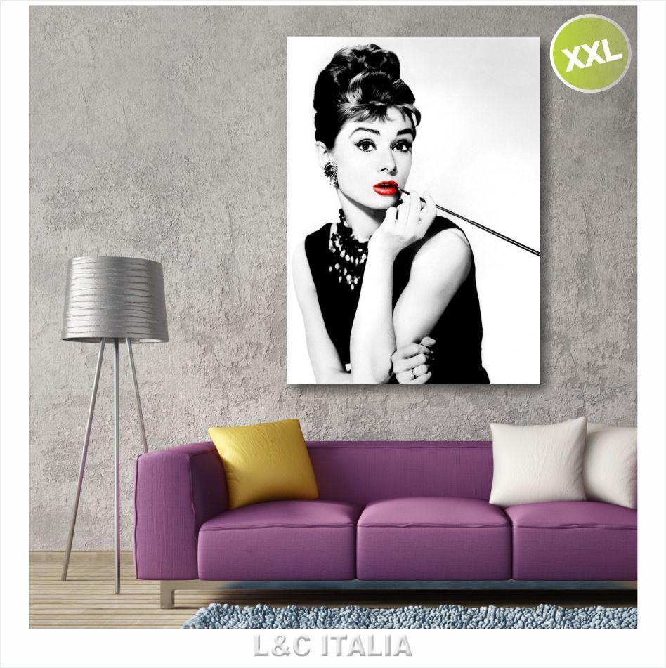 Audrey Hepburn labbra rosse QUADRO 70x100cm MODERNO QUADRI STAMPA TELA ARrotO