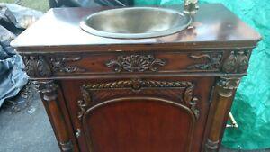 35 Bathroom Vanity Single Door Cabinet Brass Sink Faucet Old English Victorian Ebay