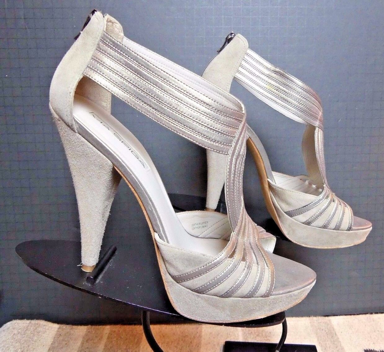 bellissima Donna    Via Spiga  grigio Suede Smooth Leather Ankle Strap Heels Sz 9.5 MINTY  il più recente