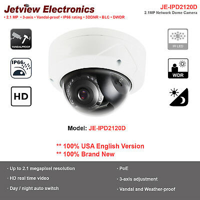 Hikvision OEM 2MP 1080P Outdoor IR Vandal Network Dome Camera/2.8mm/3-Axis
