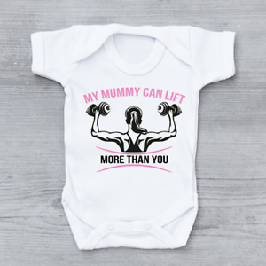 My Mummy Can Lift More Than You Funny Gym Girls Baby Grow Bodysuit